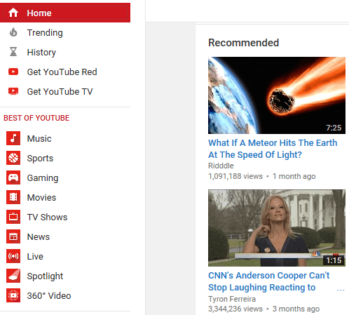 YouTube recommends